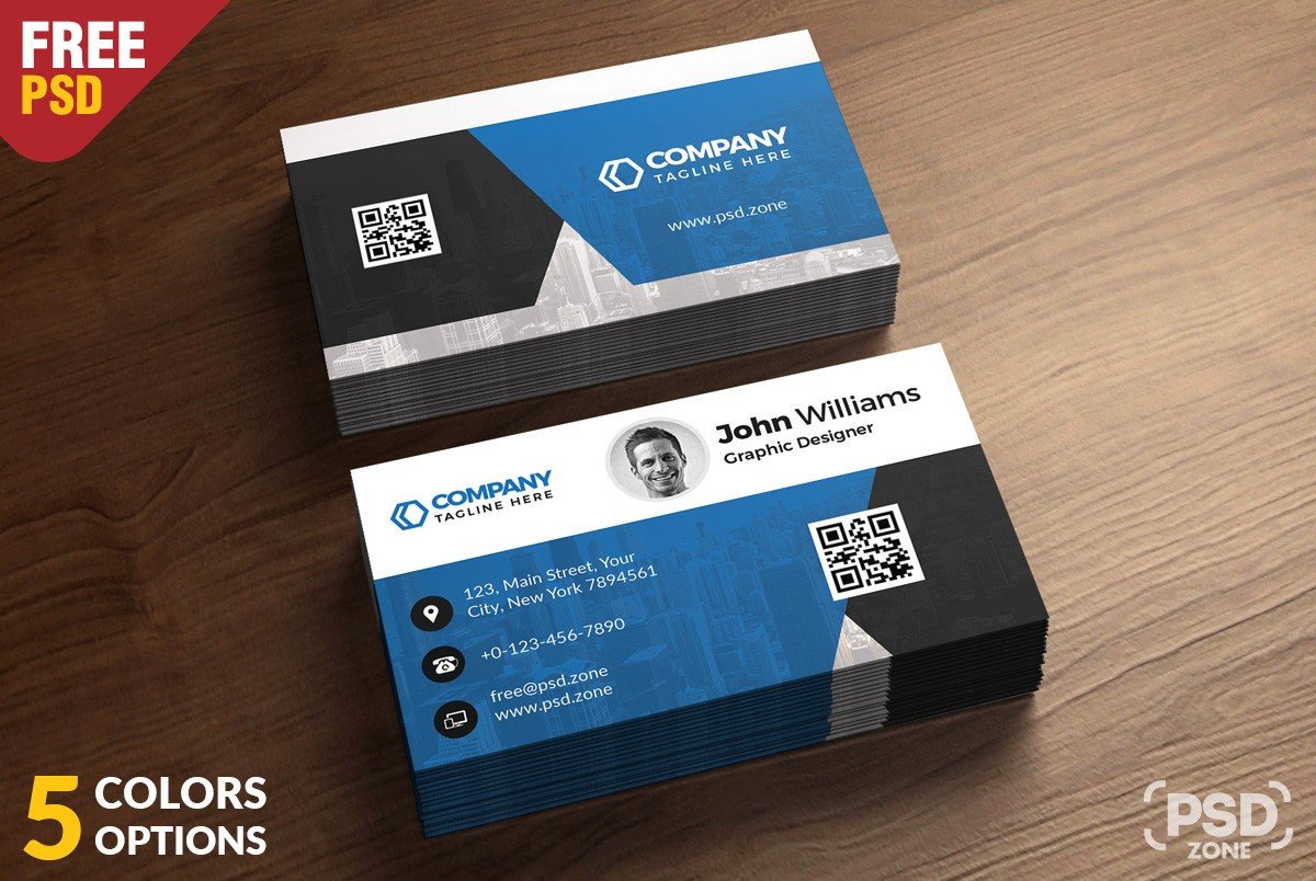 Corporate Business Card Free PSD Template Download Download PSD - Business cards psd templates