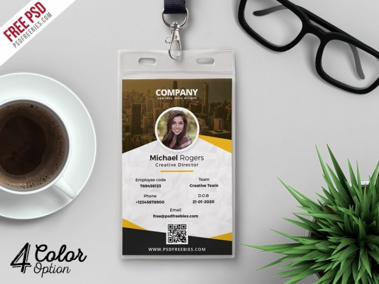 Corporate identity card design template psd download psd for Teacher id card template