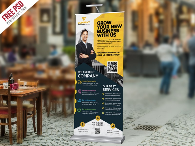 corporate roll up banner design template psd