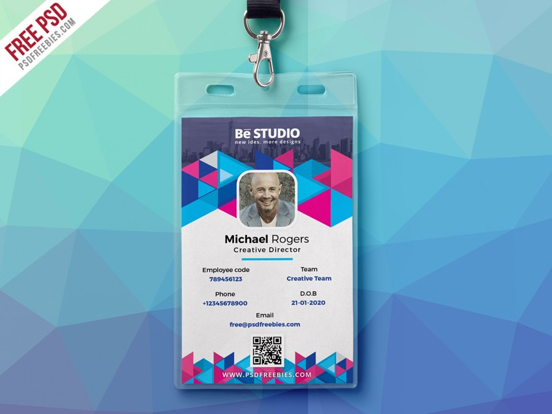 Creative office id card free psd download psd for University id card template