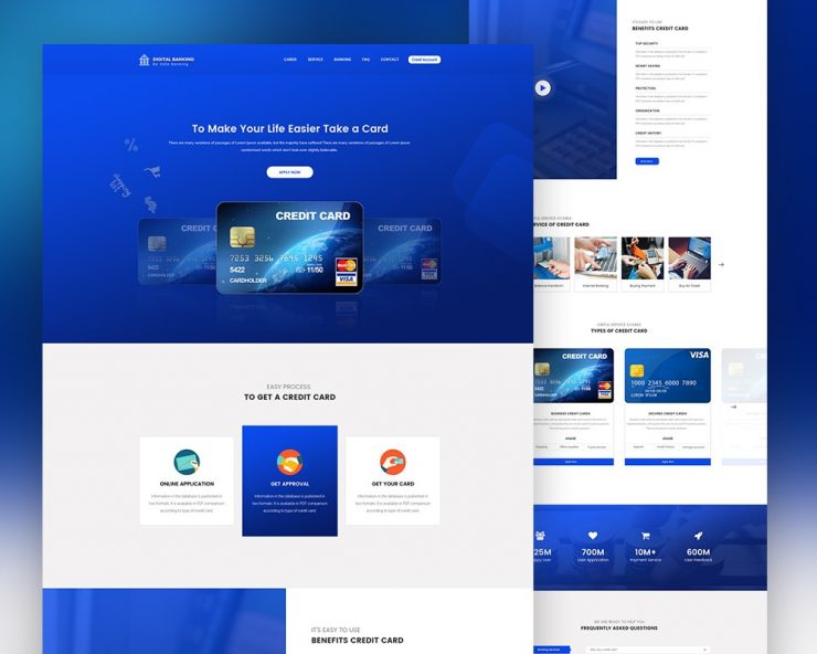 Credit Card Landing Page Template PSD