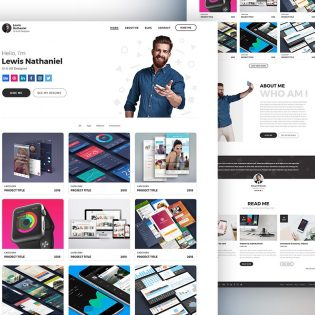 Graphic Designer Portfolio Website Template PSD