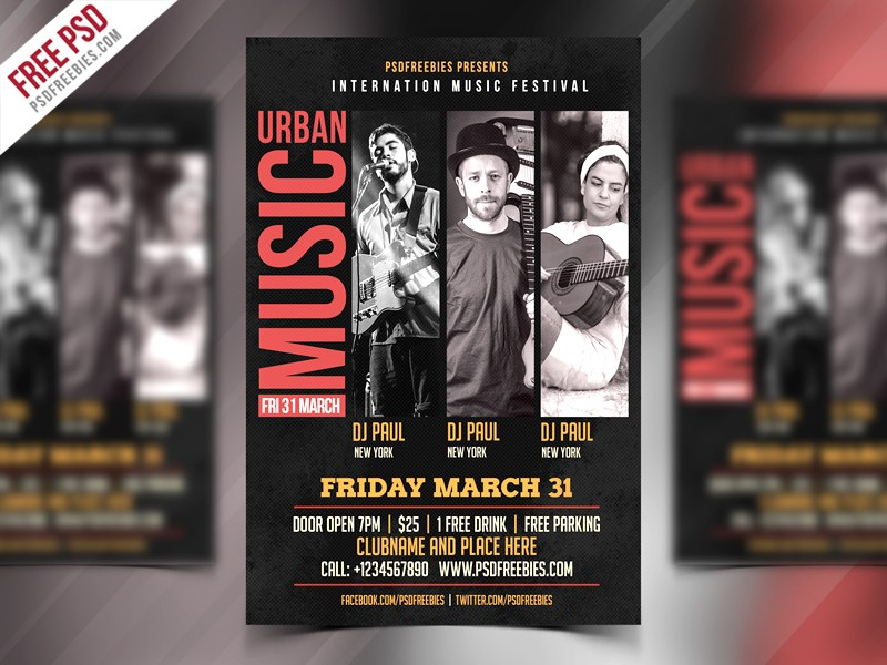Music Event Flyer Template PSD Download - Download PSD