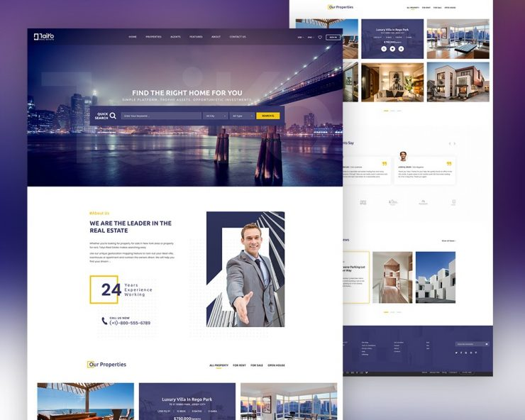 Real Estate Website Template Free PSD