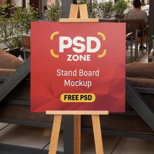 Restaurant Menu Stand Board Mockup PSD