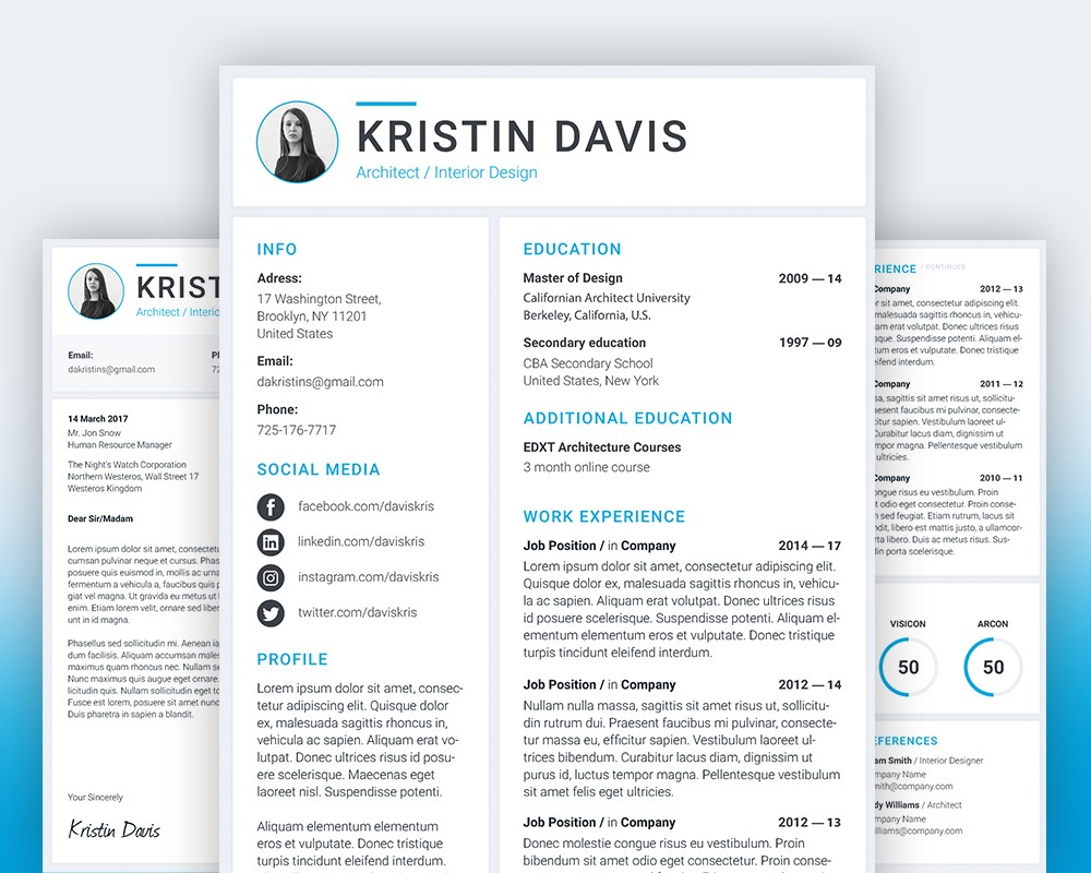 Resume And Cover Letter Template Psd Download  Download Psd