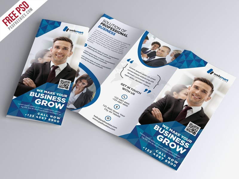 Tri fold corporate brochure template psd download psd for Tri fold brochure psd template