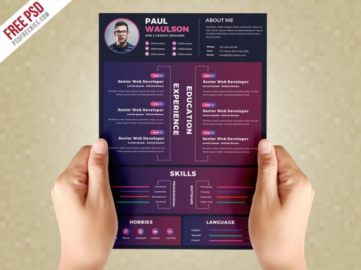 Dark Resume CV Template PSD