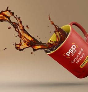 Floating Coffee Mug Mockup PSD