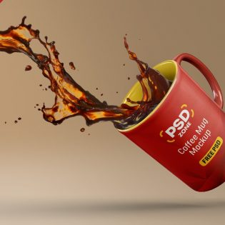Floating Coffee Mug Mockup PSD