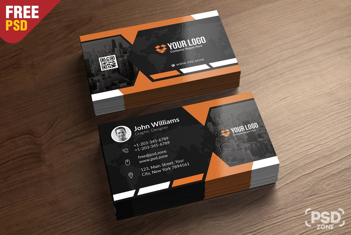 Free Business Card Template Download Download PSD - Portrait business card template