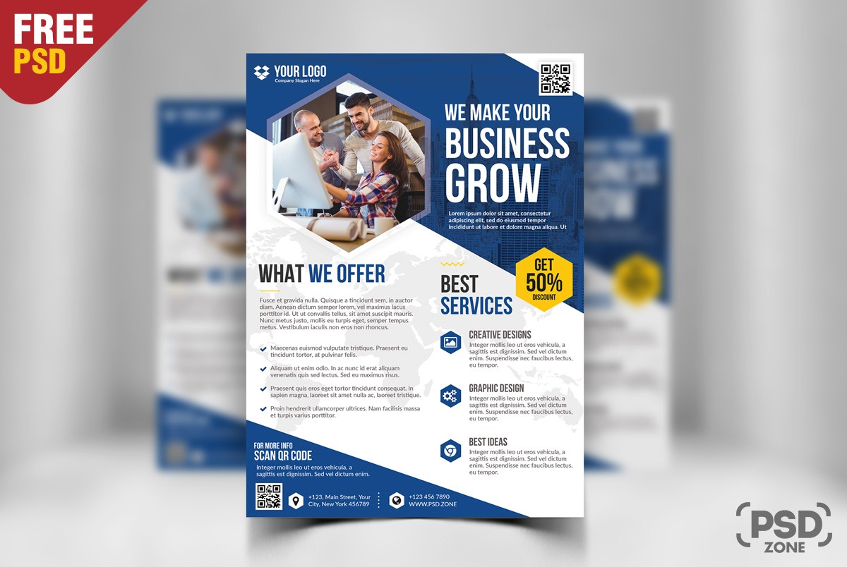 Free business flyer template psd download psd free business flyer template psd flashek Images