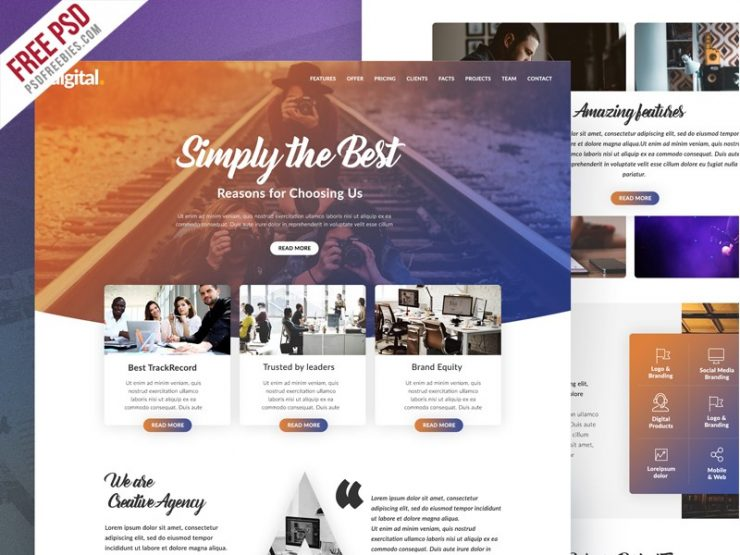 Free Creative Agency Website PSD Template