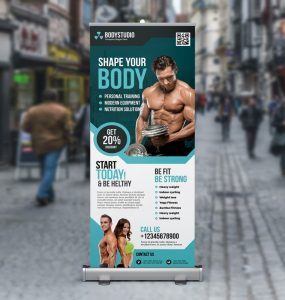 Free Gym Roll Up Banner PSD