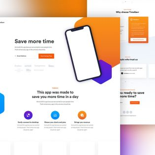 Free Mobile App Landing Page Template PSD