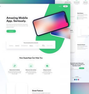 Free Mobile App Website Template PSD