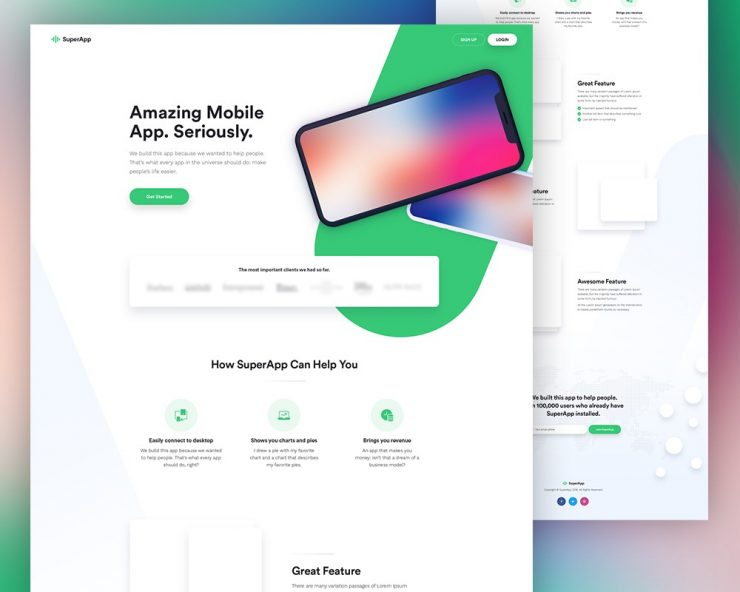 Free mobile app website template psd download download psd for Mobile site template free download