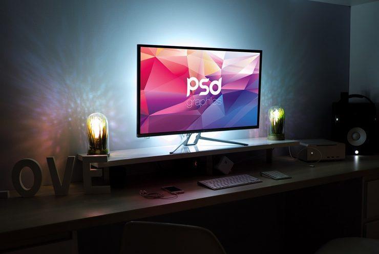 Free Monitor Screen Mockup PSD