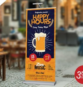 Happy Hour Roll Up Standee Design PSD