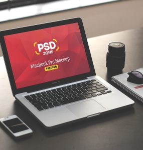 Macbook on Desk Mockup Template PSD
