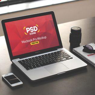 Macbook on Desk Mockup Template PSD