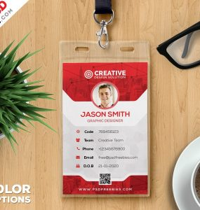 Office Identity Card PSD Template Vertical Id Card, University Id Card,  University Id,