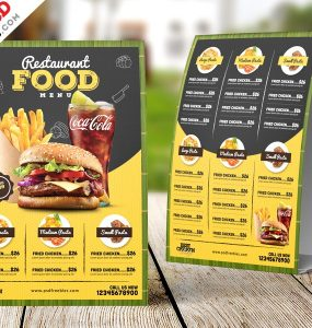 Restaurant Menu Table Tent Design PSD