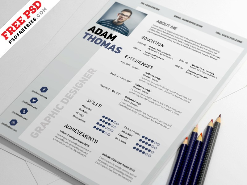 Clean Resume Template Psd Download Download Psd