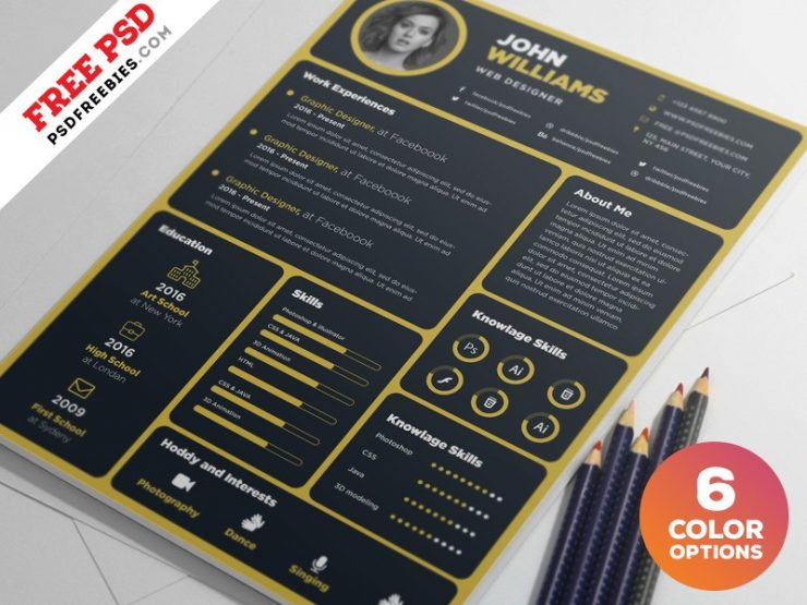 Dark Resume Template PSD