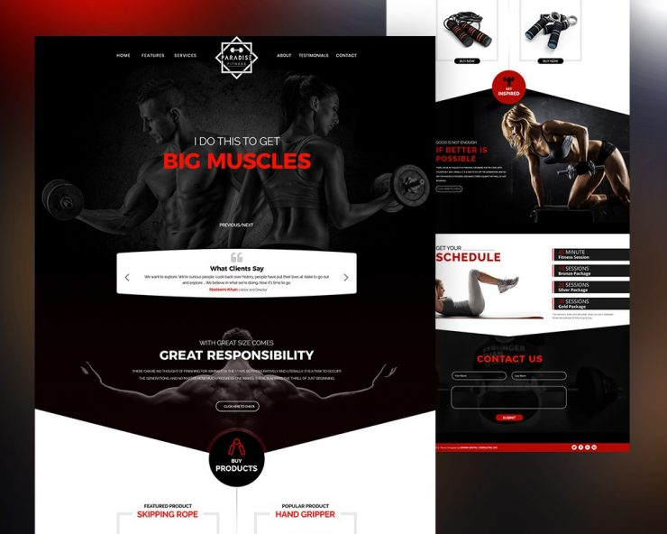 Free Gym Website Template PSD