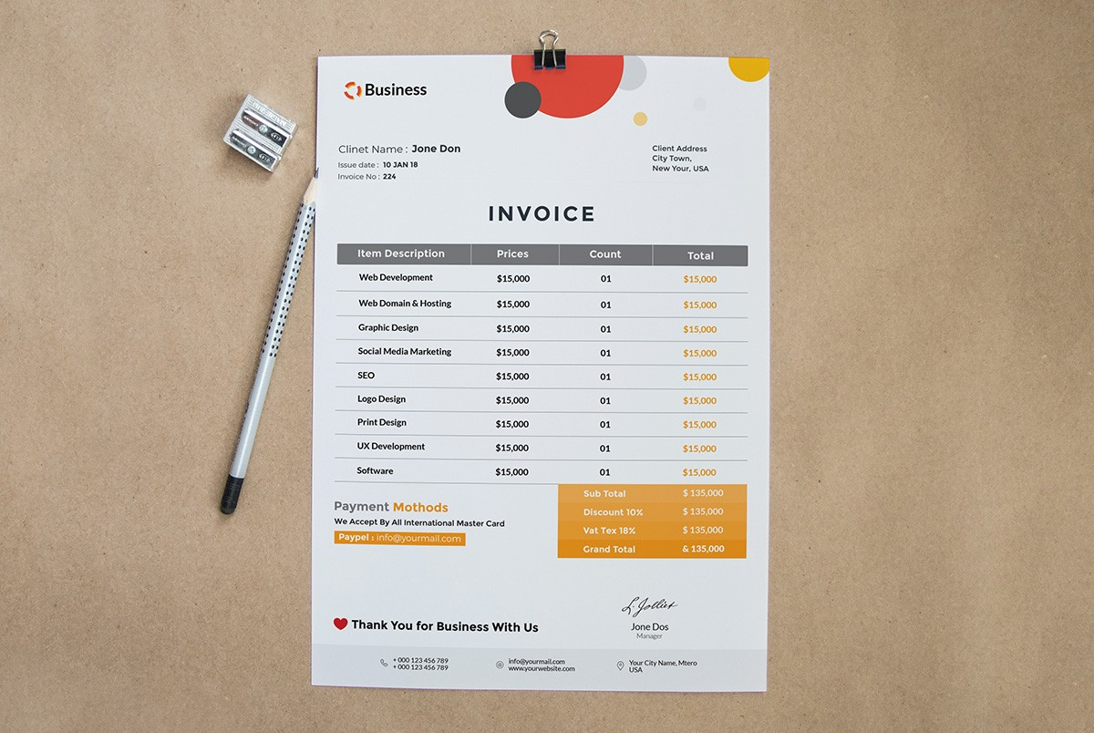 free invoice template psd download psd