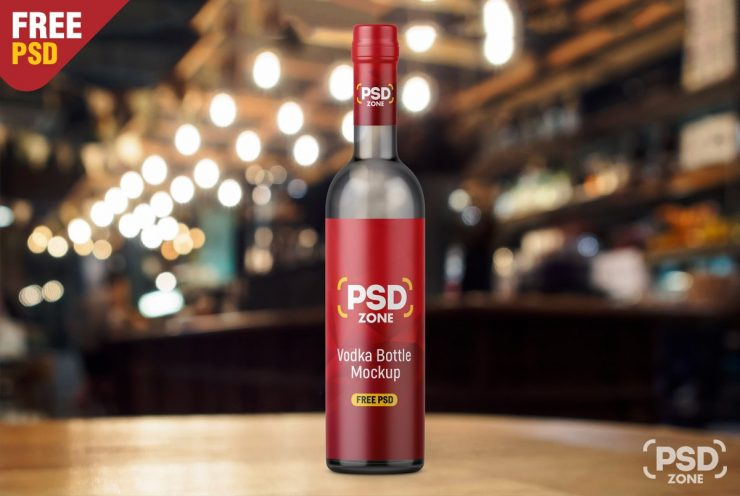 Free Vodka Bottle Mockup PSD