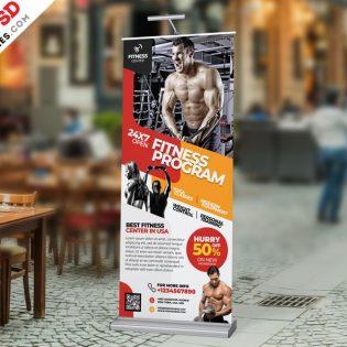 Gym Roll Up Banner Design Template PSD