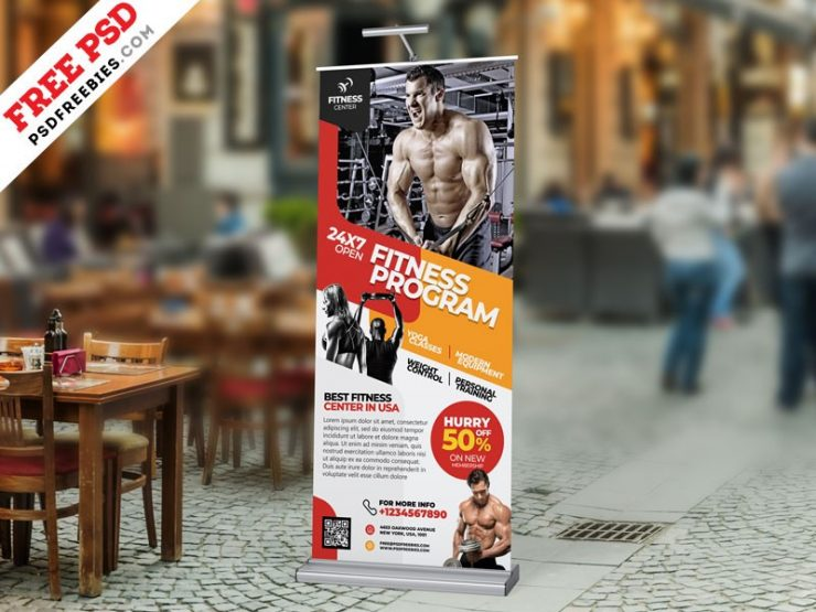 Gym Roll Up Banner Design Template PSD