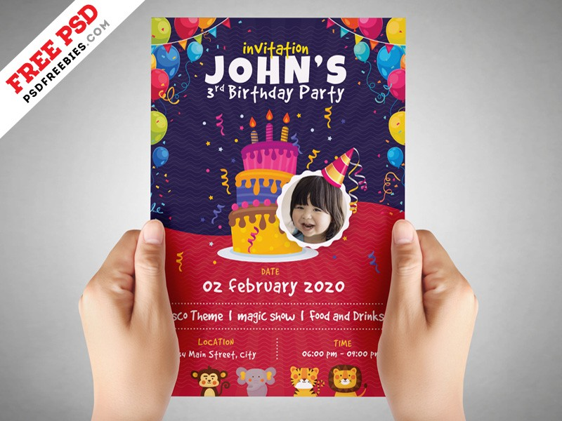 kids birthday party flyer template psd download download psd