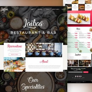 Restaurant Website Landing Page Template PSD