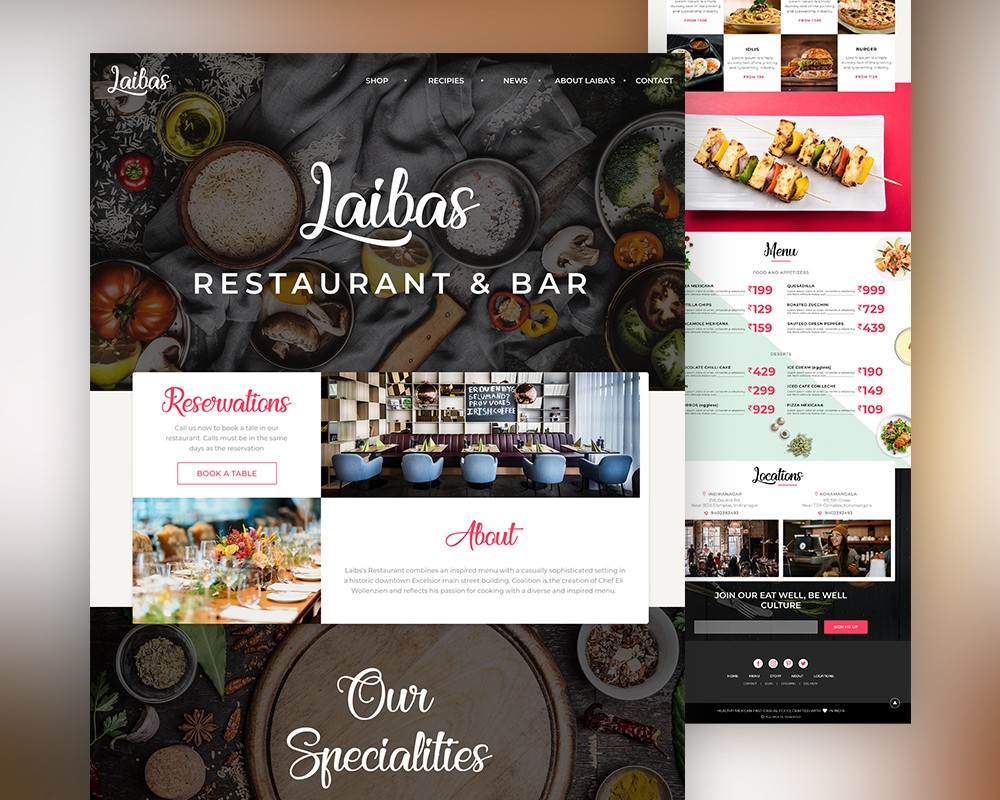 Restaurant website landing page template psd download