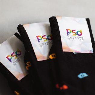 Sock Label Mockup Template PSD