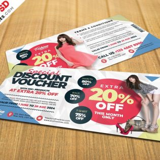 Free Discount Voucher Template PSD