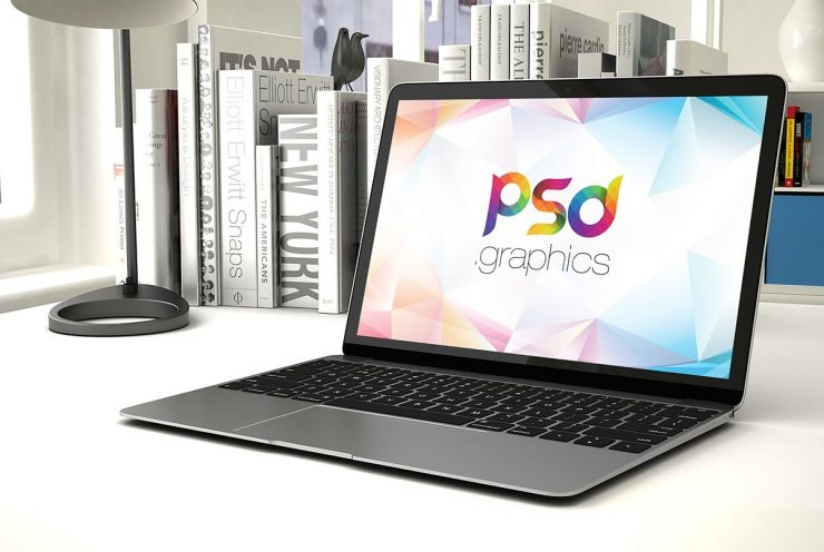 Space Grey Macbook Mockup PSD