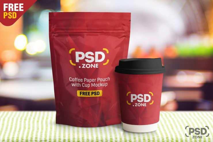 Coffee Pouch with Cup Mockup PSD