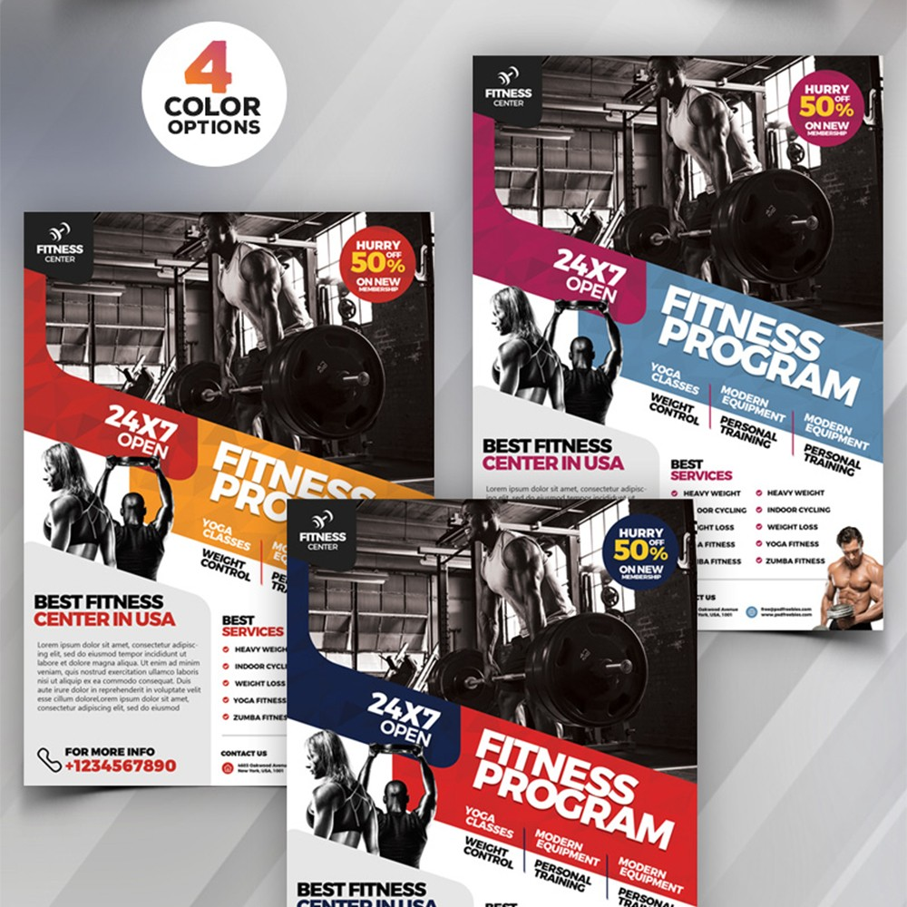 gym  u0026 fitness flyer template psd