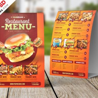 Restaurant Menu Tent Card Design Template