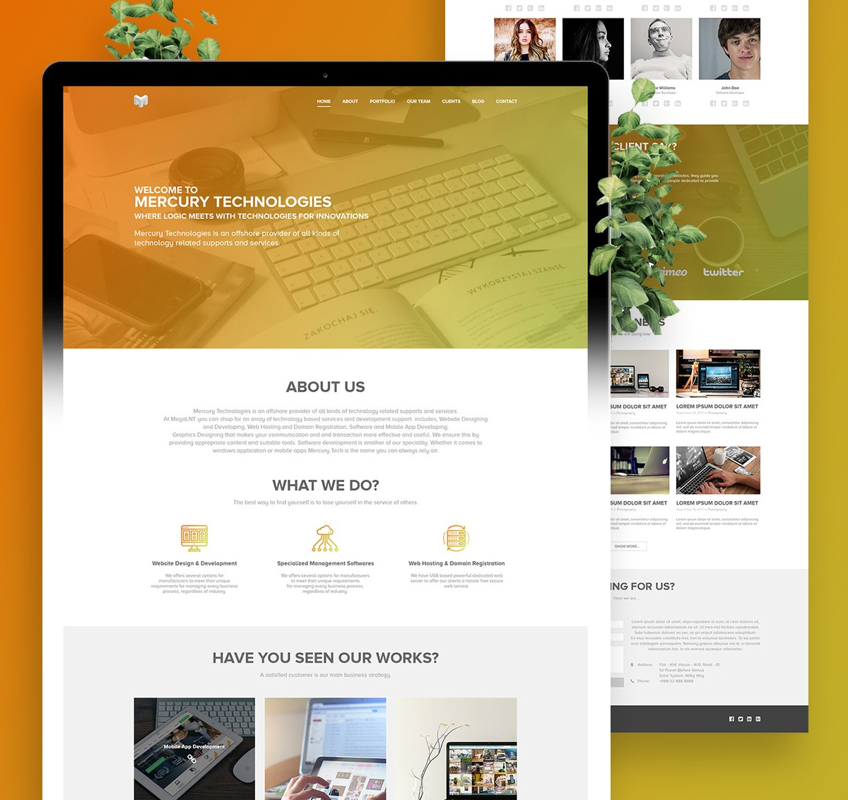 One Page Template Psd: Single Page Website Template PSD