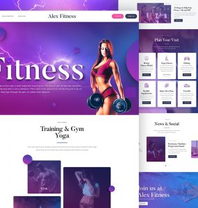 Fitness Club Website Template PSD