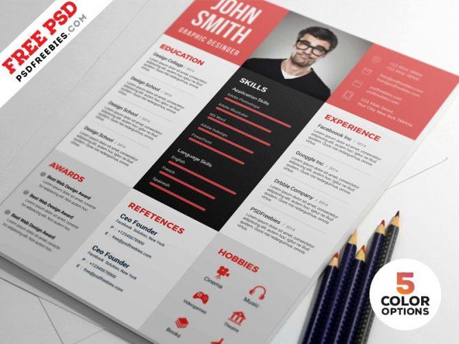 Graphic Designer Resume PSD Template