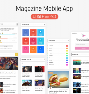 Magazine Mobile App UI Kit PSD