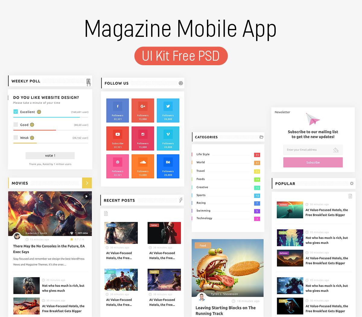 magazine mobile app ui kit psd download psd