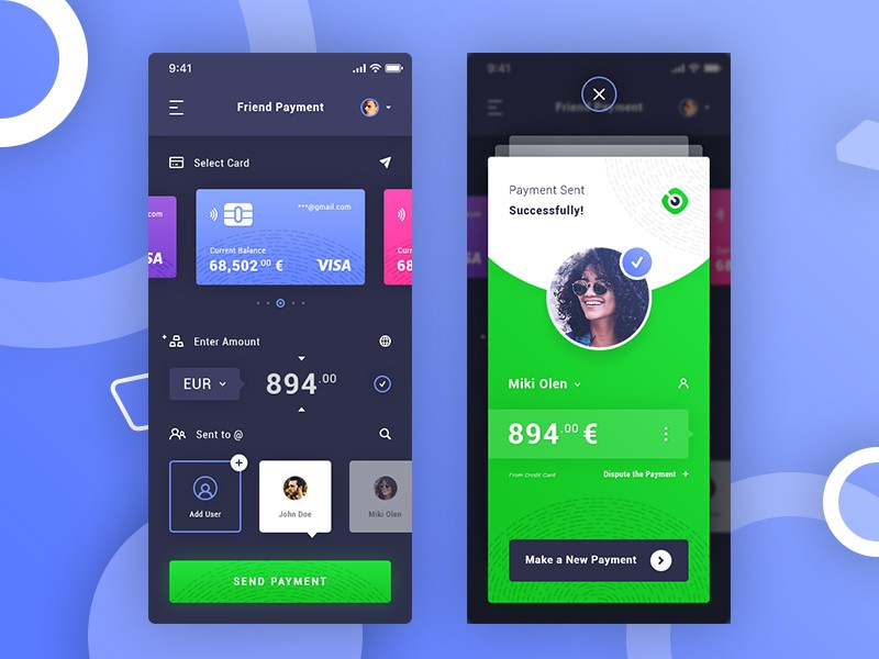 mobile wallet app ui design psd