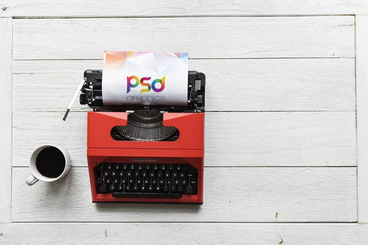 Free Typewriter Mockup PSD